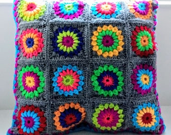 Handmade crochet cushion cover in grey/multi