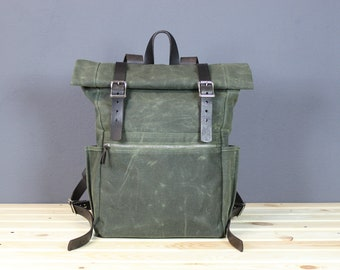Waxed canvas backpack Leather backpack Canvas rucksack Laptop backpack Canvas leather backpack Canvas Daypack backpack