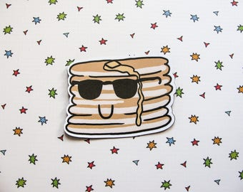 Cute Pancakes Magnet, Refrigerator Magnet, Pancakes with Sunglasses, Fridge Magnet, Cubicle Decor, Kawaii Magnet, Breakfast Decor