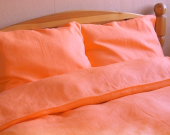 100% Linen Bedding FULL Set 4 pcs, Single/Twin/Junior Bed Linen Set, Orange - Sheet, Duvet Cover, 2 Pillowcases