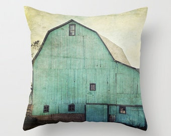 Throw Pillow Cover Aqua Barn Vintage Turquoise Teal Mint Country Rustic Farmhouse Decor Photo Case Home Bedroom Livingroom Couch