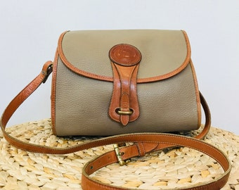 authentic vintage dooney and bourke crossbody - all weather leather crossbody - latte colored pebbled leather purse - foldover shoulder bag