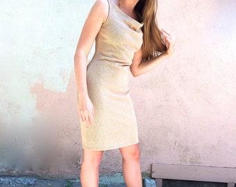 Tan Knit Cowl Neck Dress