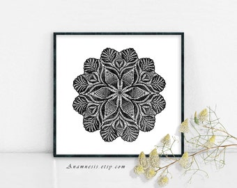 DOILY 1 IN BLACK - digital image download - printable vintage image for image transfer - totes, pillows, prints, fabric, towels, tags