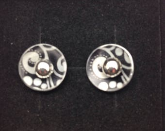 Anodised Aluminium and Sterling Silver Stud Earrings
