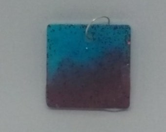 Resin square glitter sparkling light blue and dark blue charm
