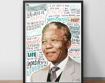 Nelson Mandela print / poster hand drawn typography quotes political print / poster