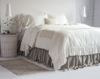 Linen Duvet Cover Luxury French Vintage Ruffled 100% European Flax Stone Washed Super Soft Natural Organic King Queen HOT SPRING SALES!