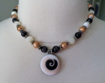 Vintage Handcrafted Mother of Pearl, Tiger Eyes and Artistic Beads Dangle Necklace.