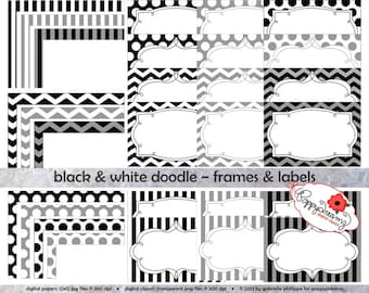 Black & White Doodle Frames and Labels: Clip Art Pack Card Making Digital Frames Page Borders Chevron Dots Stripes