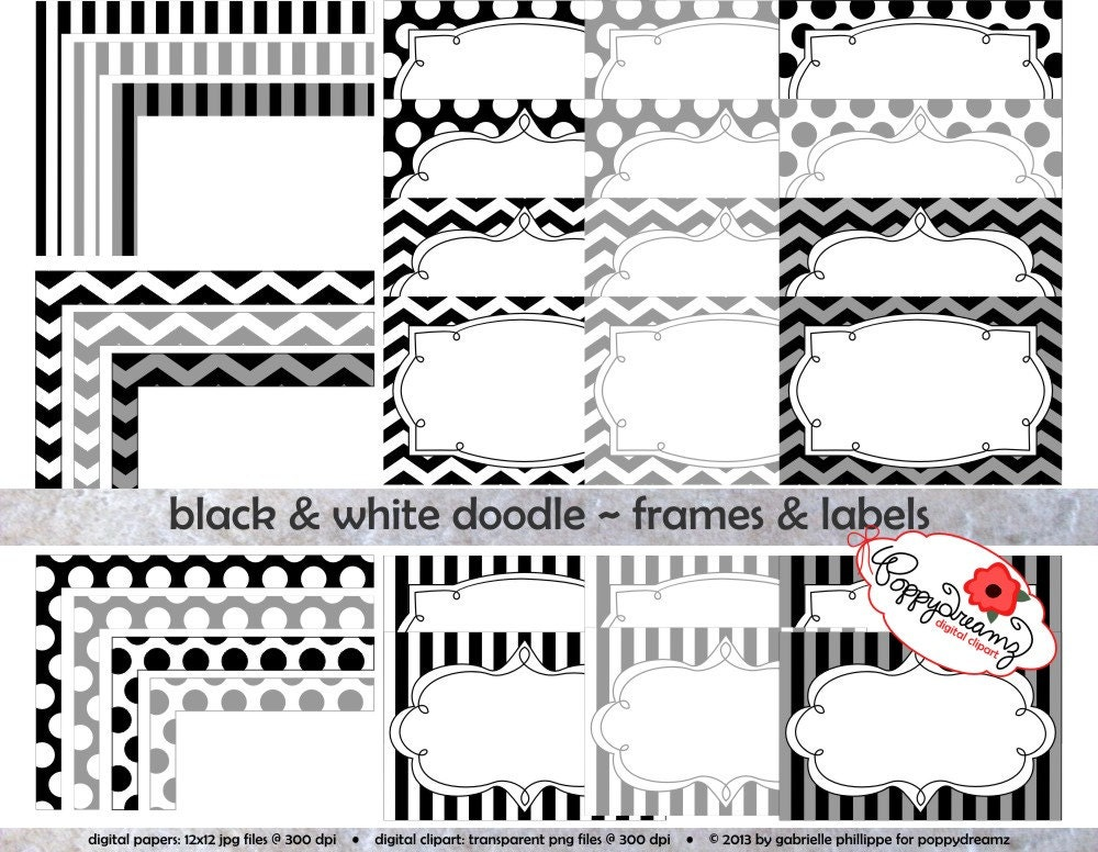 Black & White Doodle Frames and Labels: Clip Art Pack Card