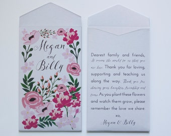 Garden Party Light Gray Seed Packet Wedding Favors - Many Colors Available