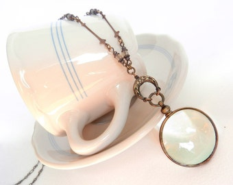 Magnifying Glass Necklace, Steampunk Monocle,  Glass Lens Necklace