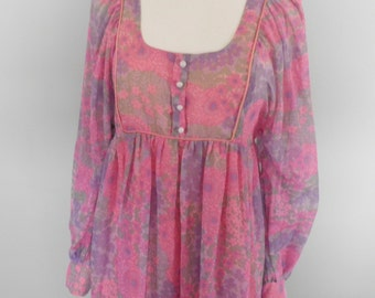 1960s DollyRockers Pink Maxi Dress  Size S