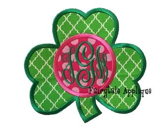 Digital Machine Embroidery Design -  St. Patrick's Day Clover with Monogram Applique