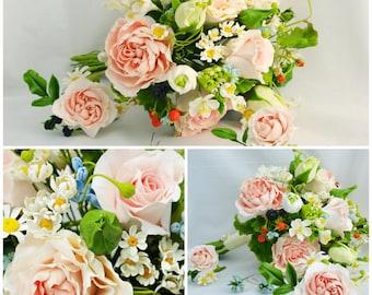 wedding flower, bride bouquet, cold porcelain, strawberry bride bouquet, rustic bouquet, rustic style bride, peony bride bouquet, bridesmaid