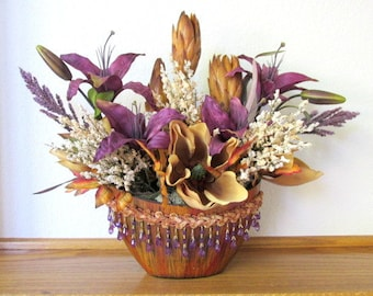 Purple and Gold Victorian Silk Floral Arrangement with Lilies and Magnolias
