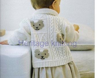 Baby Toddler Boys Girls Cable & Teddybear Jacket/ Cardigan, DK/ 8ply Knitting Pattern, 99p pdf