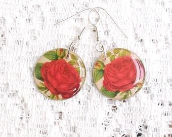 Rose Earrings - Floral Earrings - Boho Jewelry - Rose Decoupage Jewelry - Garden Jewelry - Gypsy Boho Earrings