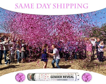 2 12 inch Confetti Cannons Ships Same Day - 12 Inch Confetti Cannon Gender Reveal Confetti Cannons On Sale - Pink Girl