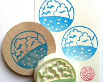 ocean rubber stamp | circle stamp | summer card making | fabric stamping | diy gift wrapping | gift for boys | hand carved by talktothesun