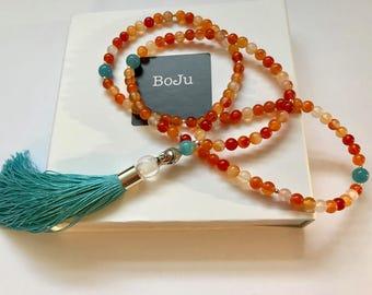 Mala necklace, Mala Beads, Yoga Beads, 108 Mala, Meditation beads, gemstone mala, Tassel Mala, stretch Mala, Buddha Beads, Carnelian Mala