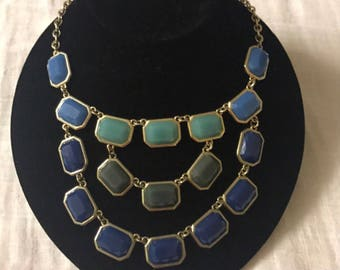 Blue and green stones multi strand statement necklace