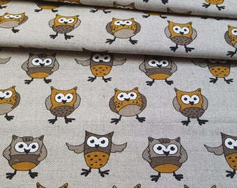 Linen - cotton fabric with yellow owl
