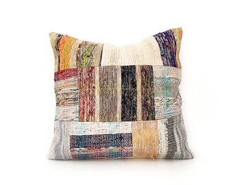 20''x20'' Patchwork Caput Multicolor Decorative Pillows Cotton Cushion Cover Ethnic pillow Tribal Pillow Floor Pillow Throw Pillow