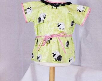 Infant - Sacque - Kimono - Newborn Size - 100% Cotton - Green - Black Lace - Baa Baa Black Sheep - Ready to Ship