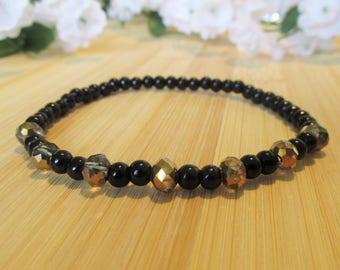 BRACELET black, golden et silver - glass beads
