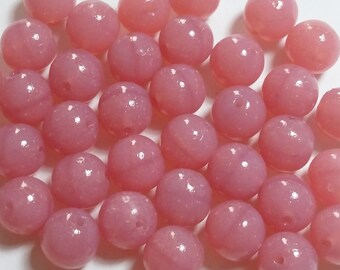 10pcs Dusty Rose Czech Glass Beads - 8mm Beads - Round Beads Pink Beads - GB297