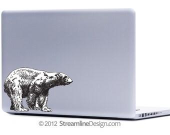 Polar Bear Vinyl Laptop or Automotive Art FREE SHIPPING, winter animals bears polar bear sticker netbook sticker notebook art geekery