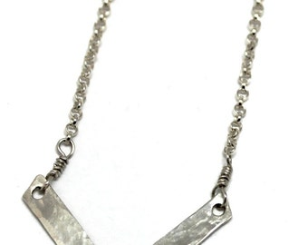 Womans Sterling silver necklace, v-shape, great for layering, hammered, boho, rustic, modern, rocker, womans, minimalist, Free shipping!