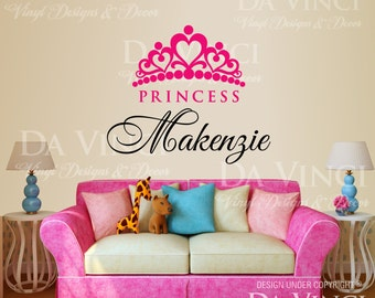 Crown Princess Personalized Custom Name Room Bedroom Vinyl Wall Decal Sticker Decoration