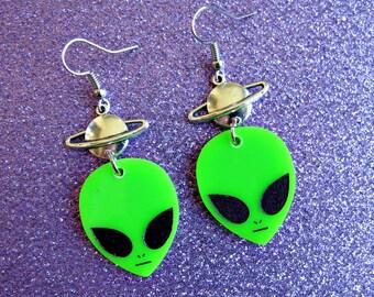 opaque neon alien planet earrings
