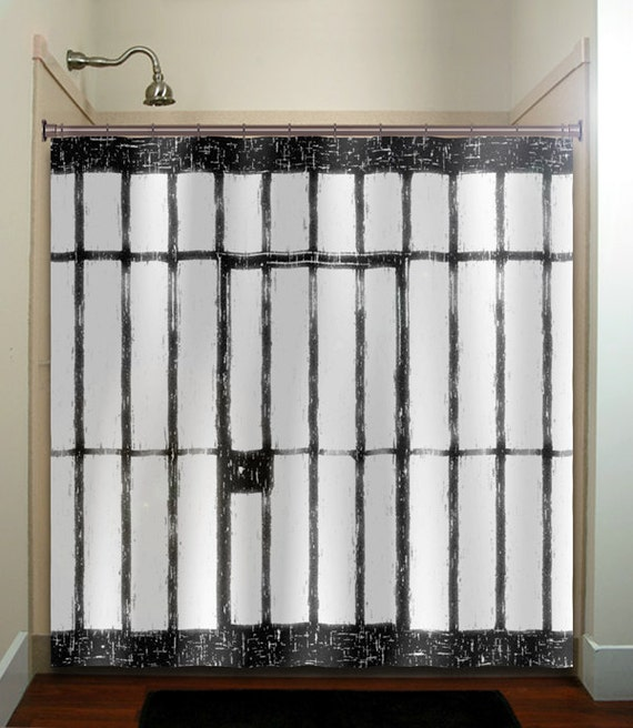Scary Funny Prison Cell Jail Shower Curtain Fabric Extra Long