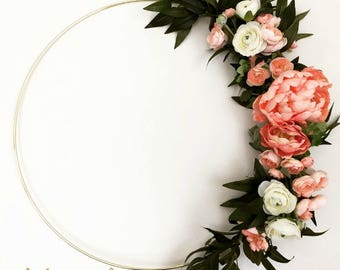MODERN SPRING WREATH, hoop wreath, peony wreath, pink wreath, wedding wreath