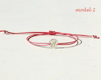 925 SILVER Initial cord bracelet Personalized Initial bracelet Letter bracelet Mothers day gift for mom gift for sister gift for bestfriend
