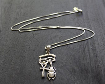 Eye of Horus, Ankh and Scarab (Protection, Eternal Life, and Resurrection) Egyptian Necklace Sterling Silver