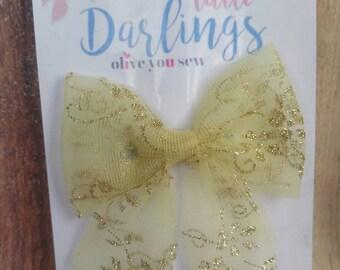 SALE! 30% OFF**Sailor Hair bow, Toddler hair bow, Baby hair bow, Teen hair bow, Girl Hair bow- gold glitter