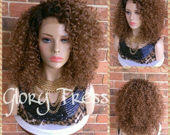 Ready to Ship //  Kinky Curly Lace Front Wig, Big Curly Afro Wig, Ombre Auburn Wig // HAPPY3 (FREE Shipping)