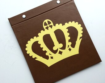 Race Bib Holder - King or Queen Crown - Hand-bound Book for Running bibs - Brown and Off White