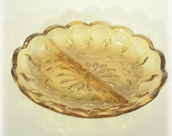 Anchor Hocking Fairfield Amber Two Part Relish Dish