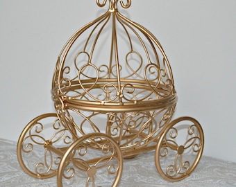 Gold Wire Cinderella Carriage/Fairytale Wedding Ball Centerpiece/Gold Baby Shower/Princess Party/Quinceañera