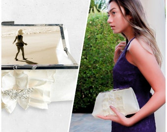 Personalized Ivory Bridal Photo Clutch- Various Colors