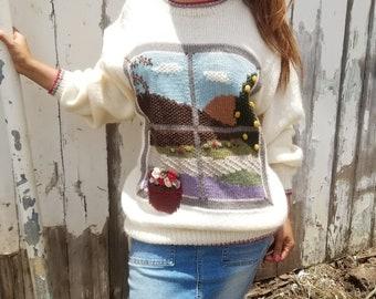 Vintage 80's Sweater 100% Wool & Mohair