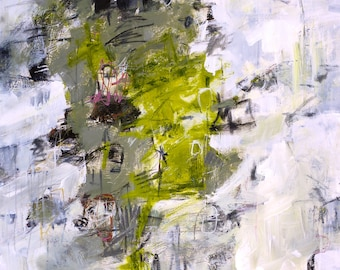 """ABSTRACT PAINTING """"Reveal"""" 30 x 40 inch canvas ORIGINAL Art by Elizabeth Chapman"""