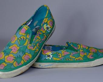 80s Bud Light Spuds Mackenzie King of Beers Canvas Slip On Tennis Shoes Sneakers Mens 9.5