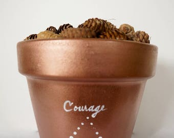Inspirational Planter / Pot - Customizable Hand-Painted Water Your Values 6''